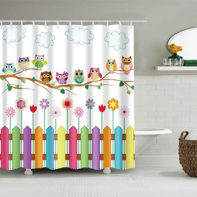 Дети Cartooon Ванная комната Душ шторы модный дизайн сова кактус якорь штора для ванной шторка для ванной