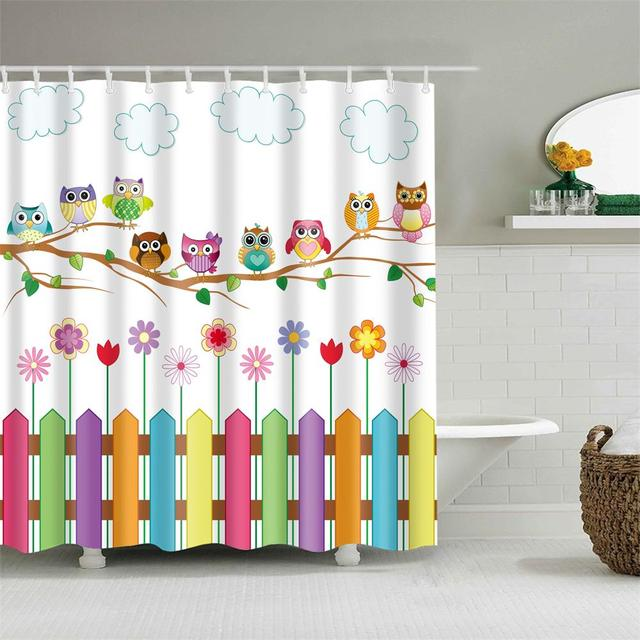 Kids Cartoon Shower Curtain Set Home Decor Owls on a Branch Art Polyester Fabric Bath Curtain with 12 Hooks Shower Curtains