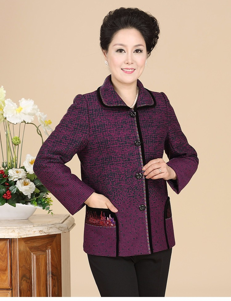 Chinese Autumn Jacket Women\'s 2016 Elegance Red Purple Coat For Middle Aged Woman Button Front Turn Down Collar Casaco Feminino 40s 50s 60s (12)