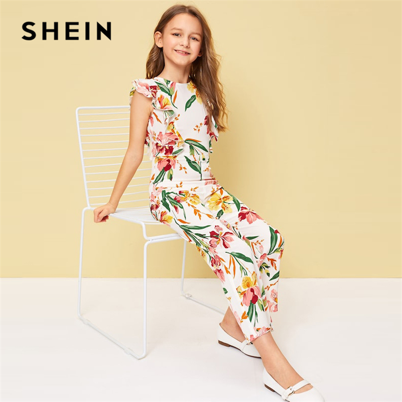 SHEIN Kiddie Floral Print Ruffle Trim Zipper Vacation Jumpsuit 2019 Summer Holiday Butterfly Sleeve Boho Flare Leg Girl Jumpsuit
