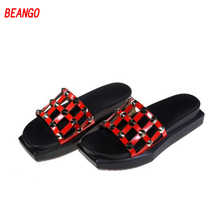 BEANGO 2017 Sneakers Girl Sandals Vogue Bling Slide Sandals Steel Ornament Rivets Hole Microfiber Slides Lower-outs Slippers