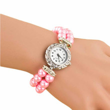 relojes mujer Newly Design Luxury Brand Women Bracelet Watch Pearl Strap Jewelry Wristwatch Female Crystal Dress Fashion Watch(China)