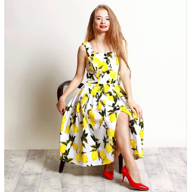 bff97abe68ea3 Plus Size Lemon Print Summer Women Dress 60s Vintage Dress Pin Up Button  Sleeveless Party Retro Dress Feminino Vestidos