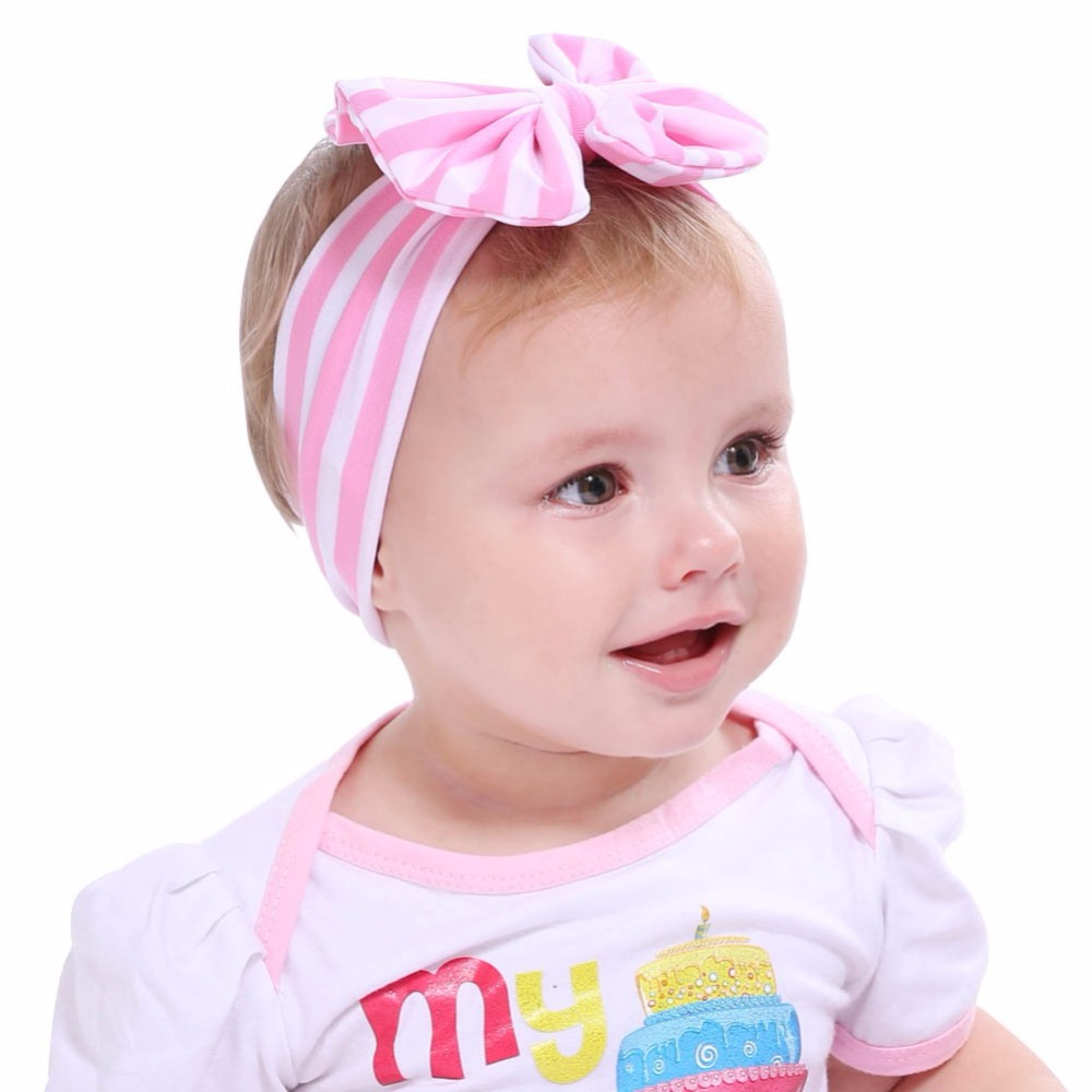 Summer Headbands Baby Hairbands Girls  Striped Turban  Bow Head Wraps Hair Bands Accessories Popular Headdress Bandeaux Bebe