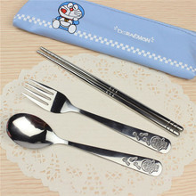 Stainless Steel Cutlery Set Dinnerware Sets Cartoon Doraemon Outdoor Portable Tableware with Bag A