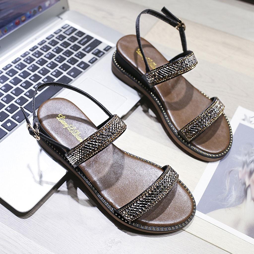 Flat-Sandals Toe-Buckle Rhinestone Bohemian Beach Fashion Summer Women New for with Dames