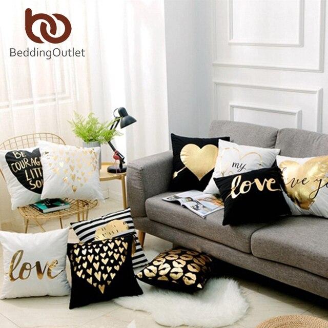 BeddingOutlet bronzant noël housse de coussin or imprimé taie d'oreiller taie d'oreiller décorative canapé siège voiture taie d'oreiller doux