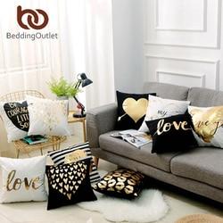 Beddingoutlet bronzeamento natal capa de almofada ouro impresso capa de travesseiro decorativo caso de almofada sofá assento do carro fronha macia