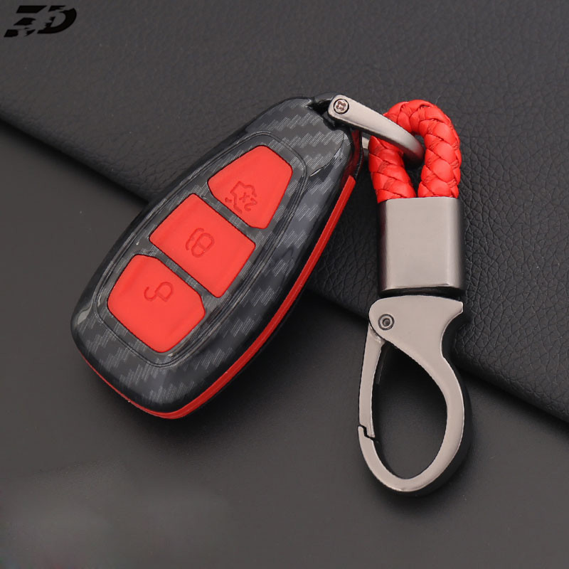 Carbon Fiber Remote Key Case Cover Frame For Ford Focus Fiesta Kuga C-Max Galaxy