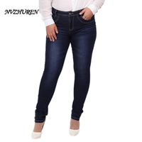 NVZHUREN Winter Autumn Fashion Plus Size Jeans Blue Color Casual Denim Pants Woman Pencil Jean Trousers