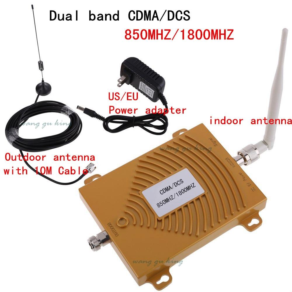 Full Set Dual Band DCS 1800MHz CDMA 850Mhz Signal Repeater Cell Phone Signal Booster DCS CDMA Signal Amplifier 4G FDD Booster
