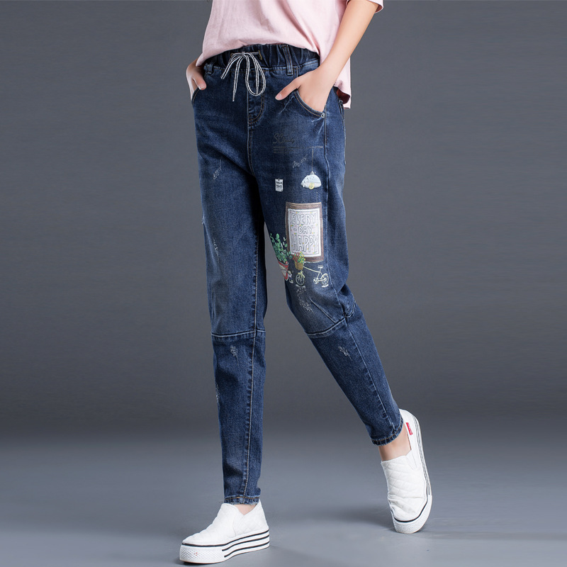 European Autumn Winter 2017 New Women's Fashion 3D Flower Printing Elastic Pants Jeans Women Floral Harem Pants Loose Trousers brand new autumn winter flower women