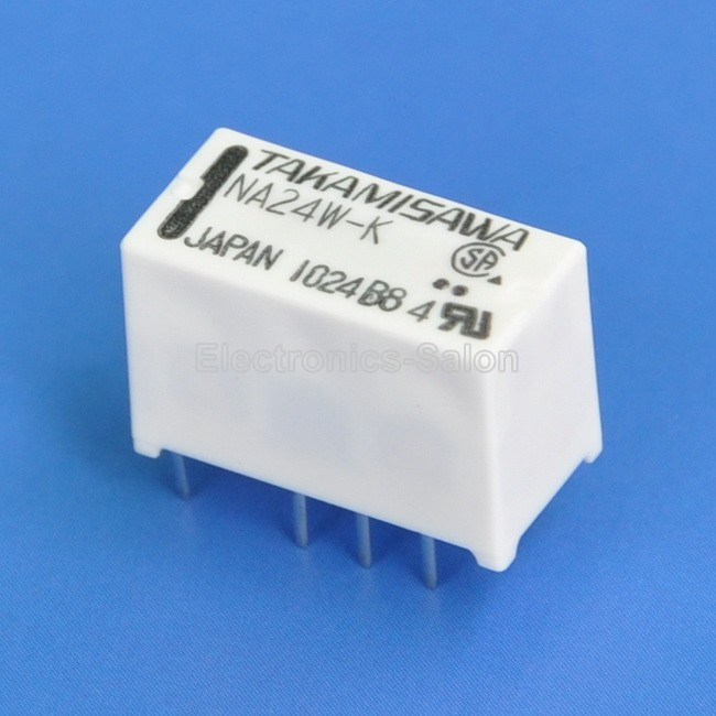 ( 4 Pcs/lot ) TAKAMISAWA NA24W-K DPDT Miniature Relay, 24VDC, For Signal Switching.