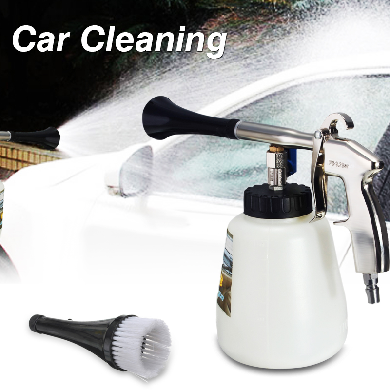 Car Automobile Cleaning Air Gun Cleaner With Brush 1000mL 1/4 Inch Interior Deep Cleaning Gun Brush high pressure air pulse car cleaning gun with brush multifunctional surface interior exterior cleaning kit eu type fast cleaning