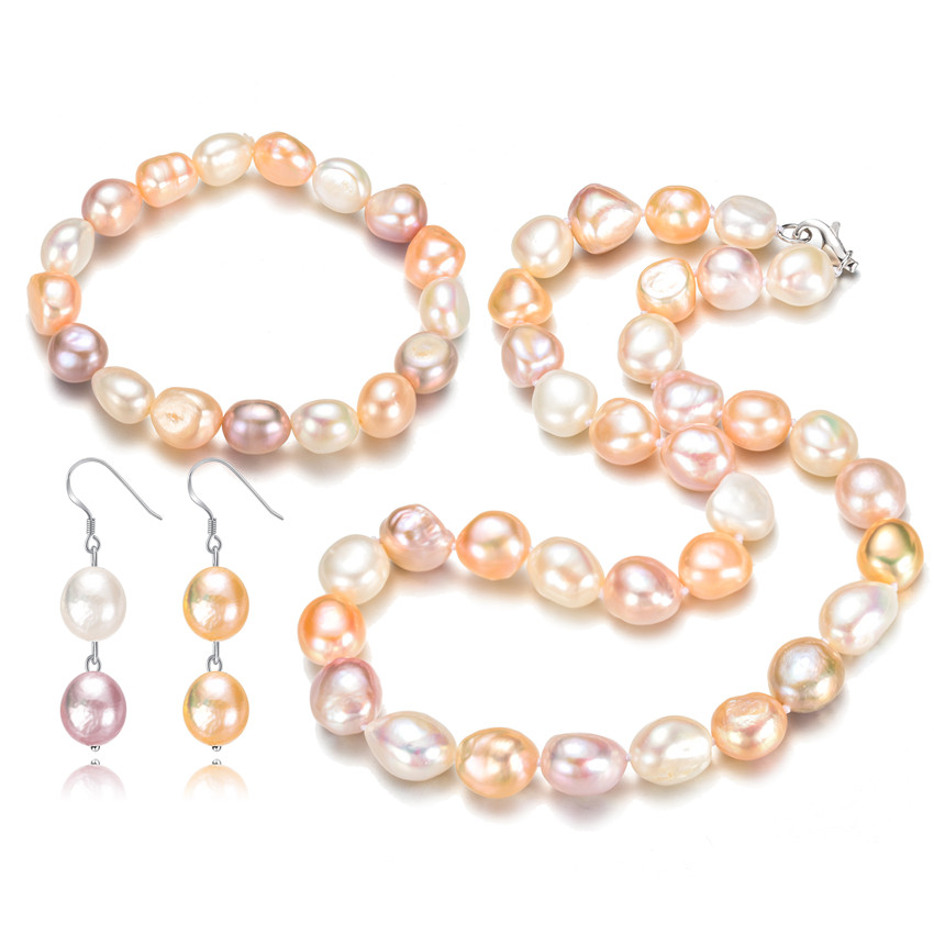 SNH AA 12mm Baroque Bracelet & Necklace & Earrings 925 Sterling Silver Natural Cultured Freshwater Pearl Jewelry Set Gift snh 36inches baroque 11 12mm aa real freshwater natural pearl necklace women fine necklace jewelry pearl 925 sterling silver
