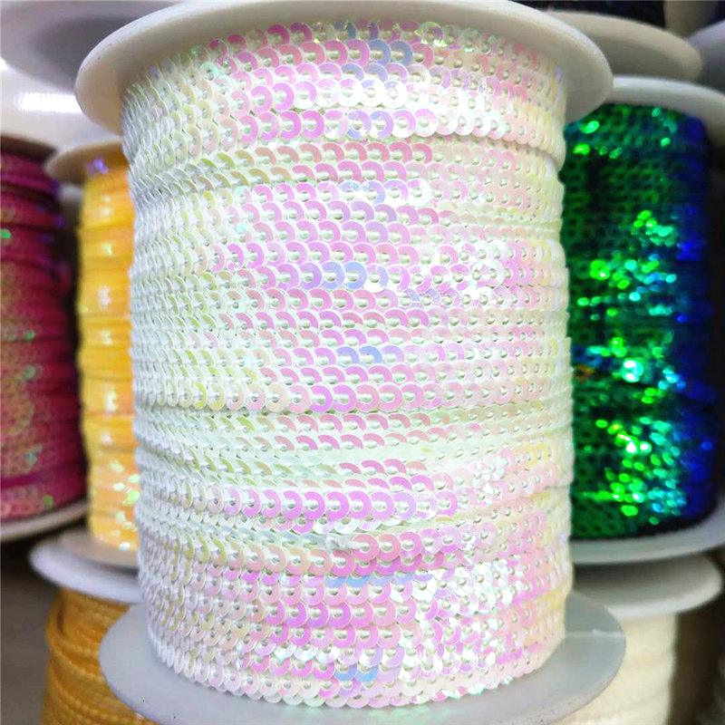 10 x 1 metre lengths Sequins Ribbon 10 Colours Great for Crafts