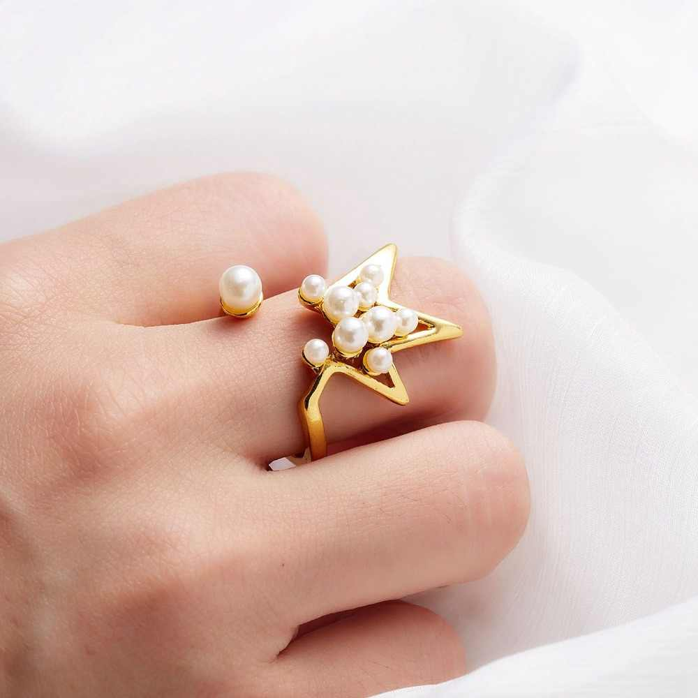 New Hot Unique Star Pearl Alloy Punk Knuckle Ring For Women Fashion Engagement Finger Ring Female Party Jewelry New Gifts