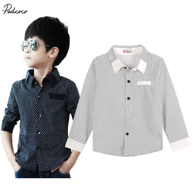 255b6bad3faf3 Fashion Kids Boys Formal Shirt Plain Long Sleeved Polka Dot Lapel Party  Shirt