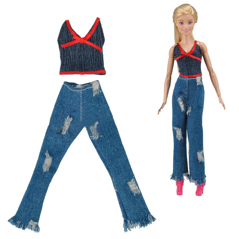 Fashion Outfits For 11.5in Doll Clothes Black Red Top /& Jeans Pants For 1//6 Doll