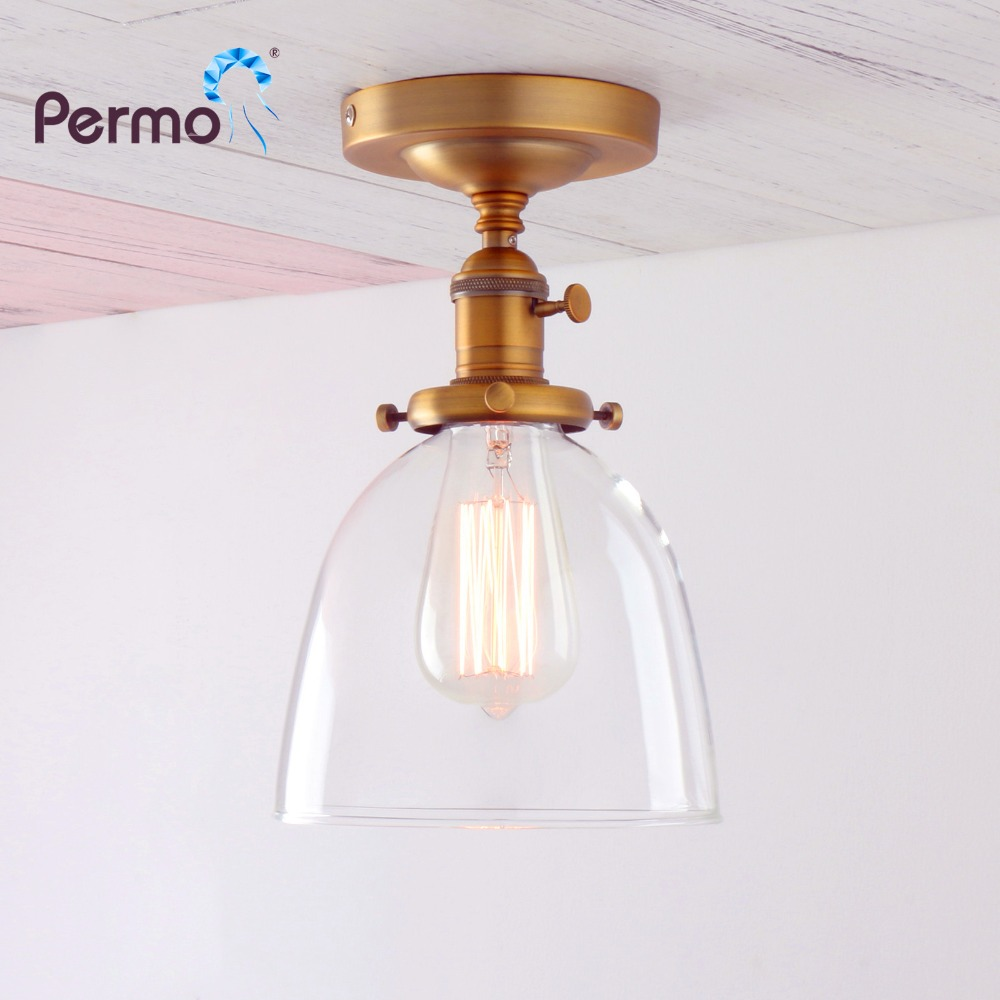 Permo Vintage Antique Clear Glass Wall Lamp Modern Hall Brass Sconce