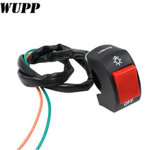 WUPP Universal Handlebar Switch Motorcycle Headlight Fog Light 2.2-2.5Cm On/Off Button Bullet Connector
