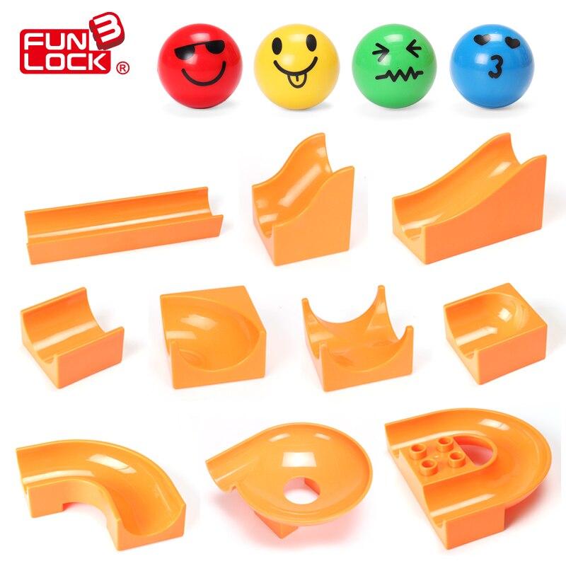 Funlock Duplo Marble Run Slideway Blocks Classic Bulk Block Toys Competible with Duplo Special Gift For Boy&Girl Пенал
