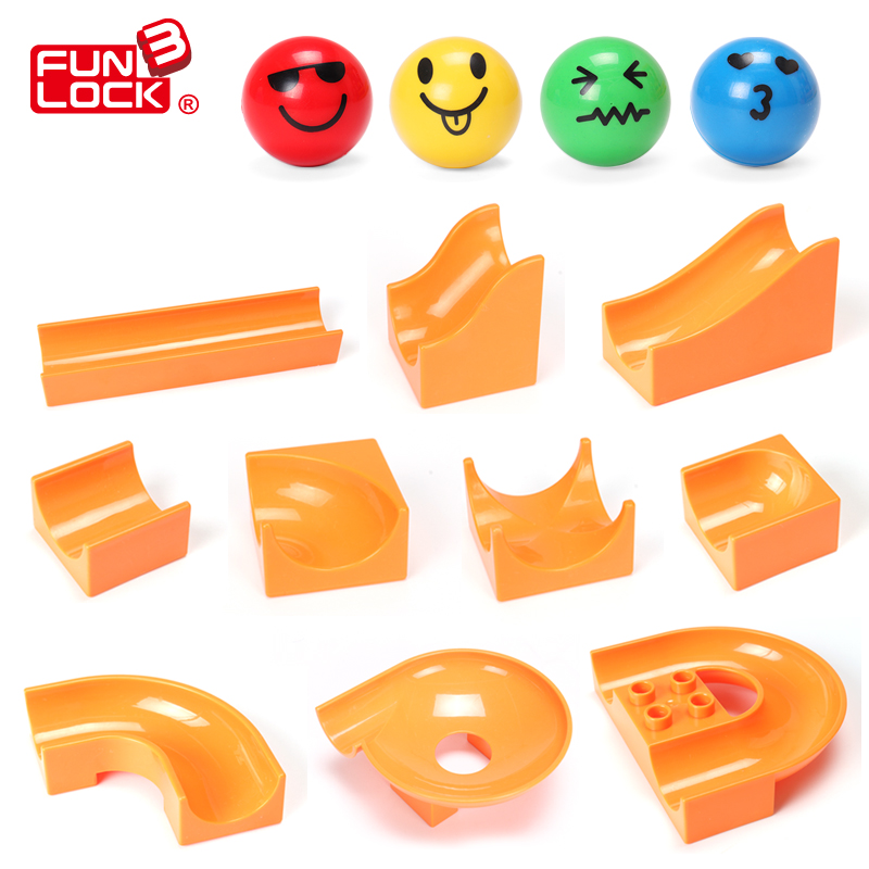 Funlock Duplo Marble Run Assemble Plast Slide Blocks Delar för barn Creative Educational Building Leksaker för barn