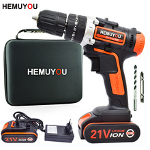 цена на 21V cordless electric screwdriver hand-held electric drill impact drill lithium ion battery10mm 2 speed + smart battery display