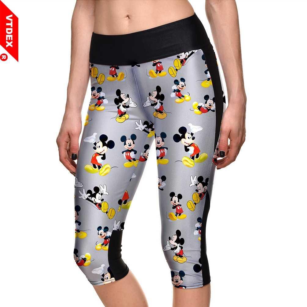 d0d1c9cdfb7c Yoga Capri Pants 2018 Elastic Waist Mickey Mouse Pattern Girl Skinny Fitness  Leggings Workout Training Sports