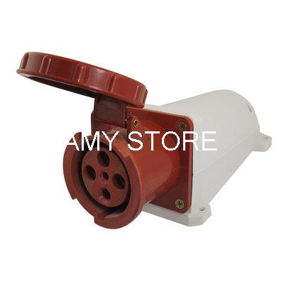 AC 380-415V 63A Red White IP67 3P+E+N Panel Mount IEC309-2 Industrial Socket электрическая вилка 63а 3p n e ip67 abb 2cma166798r1000