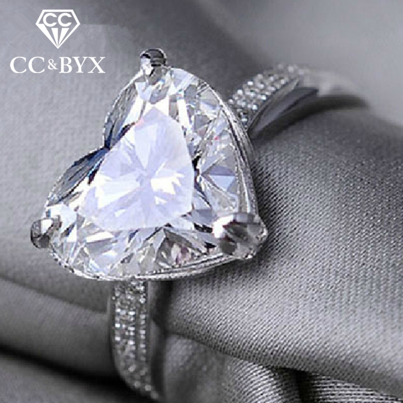 Fashion Jewelry Shaped Heart Zirconia Promise Ring Жубайларға арналған Rings Әйелдер үшін Bijoux Femme Аксессуарлар Love Gifts CC048