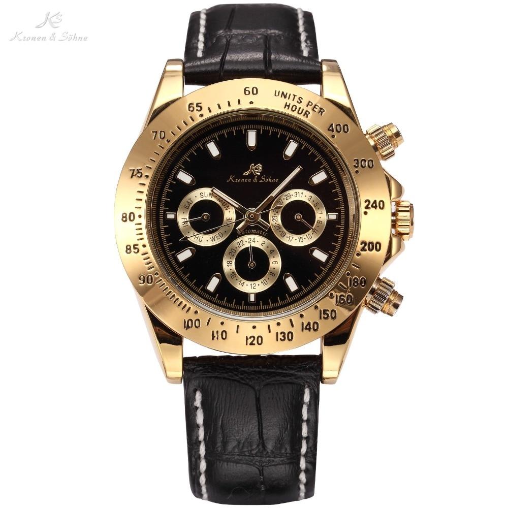 Ks Imperial De Luxe Calendrier Jour Date Affichage Mâle Horloge Relojes Hombre Plein Acier Mécanique Automatique Or Hommes Affaire Montre/KS164