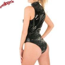 2017 Black Shiny PVC Leather Bodysuit Sleeveless Catsuit Bodycon Open Crotch Zipper jumpsuit Women