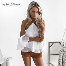 WildPinky New Sexy White Halter Blouse Cross Off Shoulder Backless Bow Short Sleeve Ruffles Shirts Summer Women Blusas Femininas