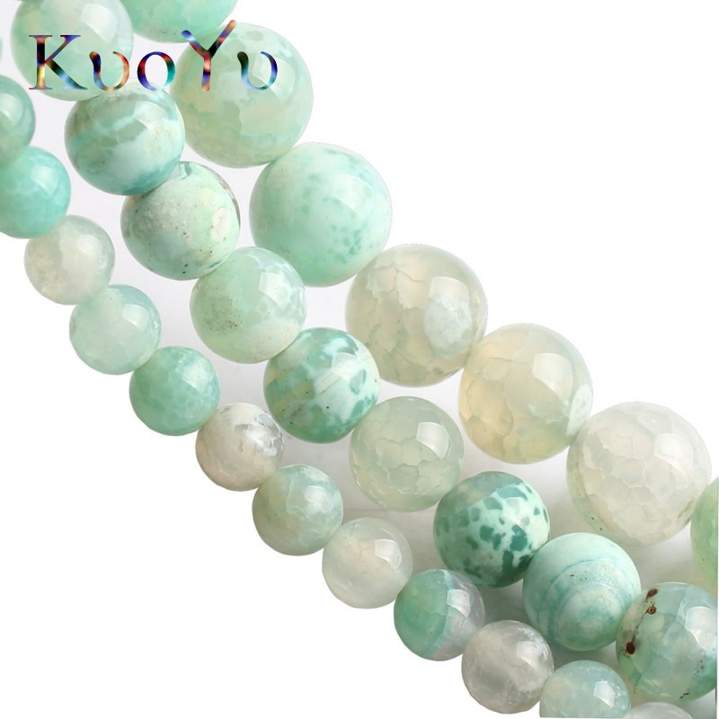 Natural Stone Mint Gree Fire Agates Onyx Round Loose Beads For Jewelry Making 15'' Strand 6/8/10mm DIY Bracelets Necklaces