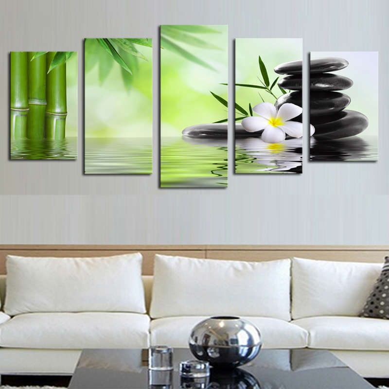 No Frame) 5 Piece Bamboo Stone Scenery Modern Home Wall Decor Canvas ...