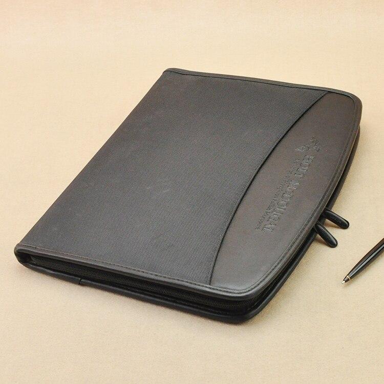 Toile tissu & simili cuir A4 manager sac à fermeture éclair padfolio mallette dossier zippé pour documents avec carnet noir 1261A