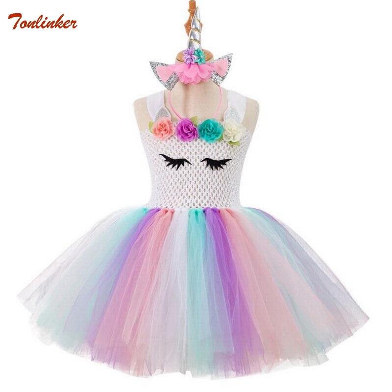 9b722e28688d Duha unicorn tutu tylové šaty s vlasy hoop květinové dívky princezna ...