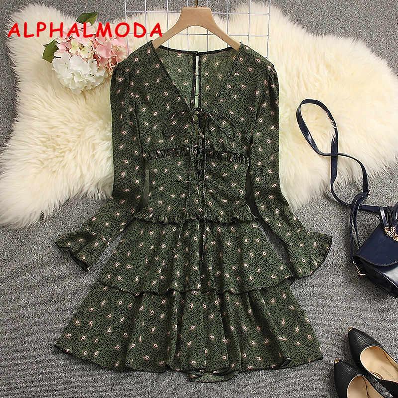 ALPHALMODA 2019 весеннее женское кружевное шифоновое платье с длинным рукавом с v-образным вырезом А-силуэта женское сексуальное мини-платье