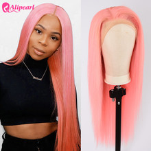 Pink Lace Front Human Hair Wigs Pre Plucked Brazilian Straig
