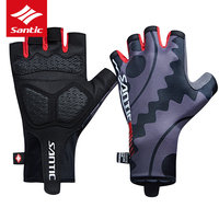 SANTIC Time Trial Cycling Gloves Short Half Finger Men Racing PRO Road Bike Bicycle Glove Padded