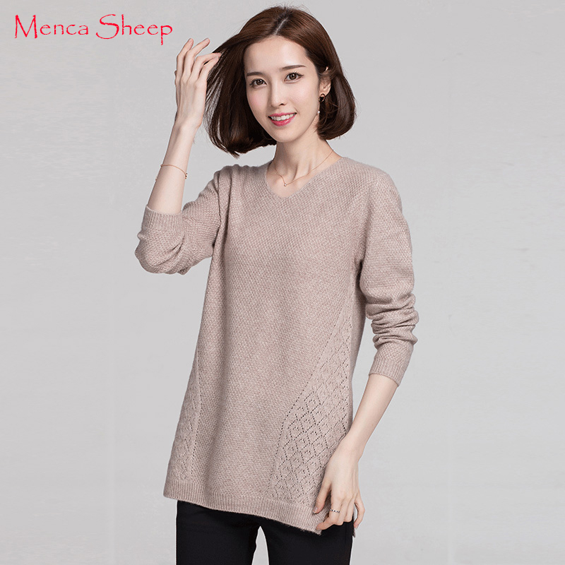 Menca Sheep New Arrival Womens Sweater 100% Cashmere Jumpers Hot Sale Vneck long Style Pullovers Woman High Soft Standard Cloth