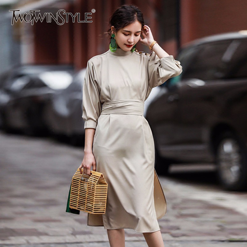 136599a633b Detail Feedback Questions about TWOTWINSTYLE Belt Dress For Women Stand  Collar Lantern Sleeve Bow High Waist Midi Dresses 2018 Summer Female Fashion  OL ...