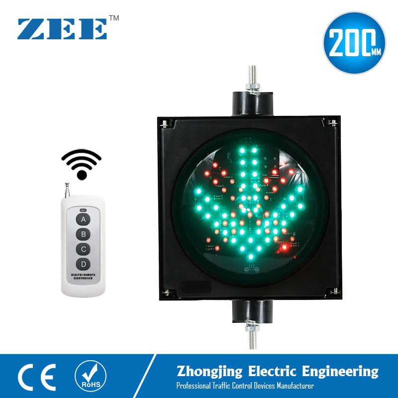 Remote Controller 200mm LED Traffic Light Red Cross Green Arrow LED Traffic Signals Wireless Controlled red cross green arrow driveway signal stainless steel 270 270mm toll fog traffic light