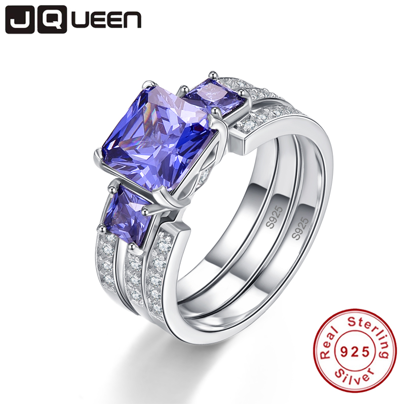 JQUEEN Top Quality Elegant 925 Sterling Silver Engagement Rings 4Ct AAA Tanzanite Stones Rings For Woman Fine Jewelry Y0062R01