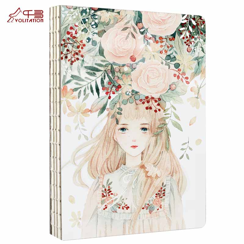 CHIHIRO Hand Painted Notebook Flowers On The Head Original Notebook Blank Note Notepad Diary 1PCS creative pure and fresh japanese style notepad 32k blank notebook hand diary south korea
