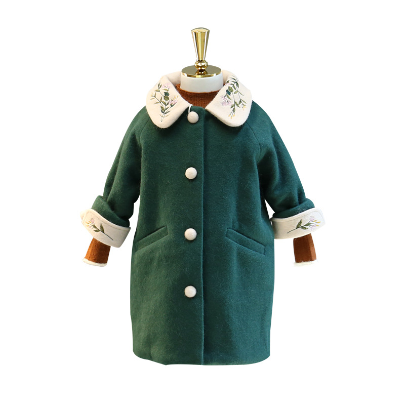 Girls woolen coat 2018 autumn and winter new children's embroidery in the long section of quilted woolen little girl coat quilted heart omnibus the