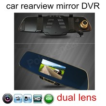 Best price include rear camera rearview 5 inch rearview mirror car recorder DVR 1080P HD dual lens reversing image new arrival dual lens