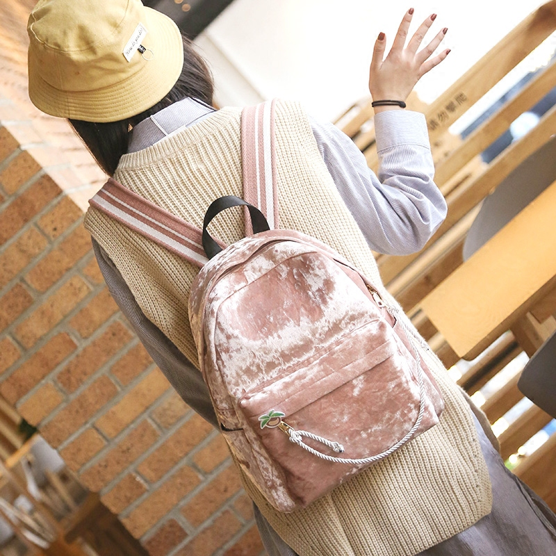 Bags For Women 2017 Travel Backpack School Bags Velour Backpacks For Teenage Girls Velvet Bagpack Shoulder Bag Rukzaki batohy