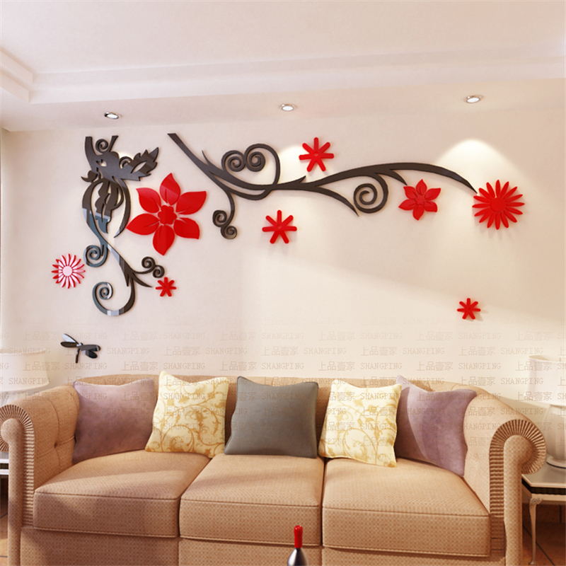 Buy 3d stereo flower vine acrylic crystal for Bedroom 3d wall stickers